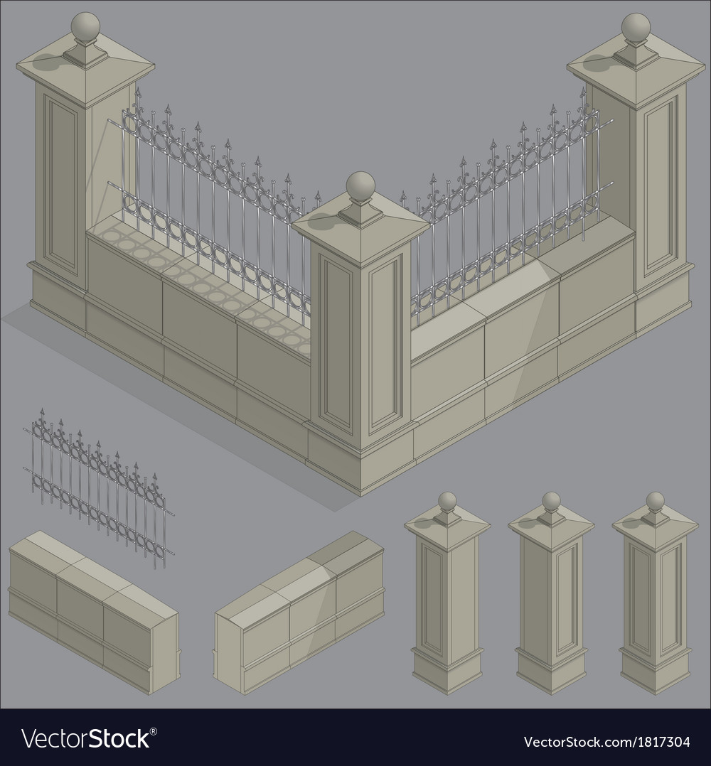 Isometric fence set construction kit vector | Price: 1 Credit (USD $1)