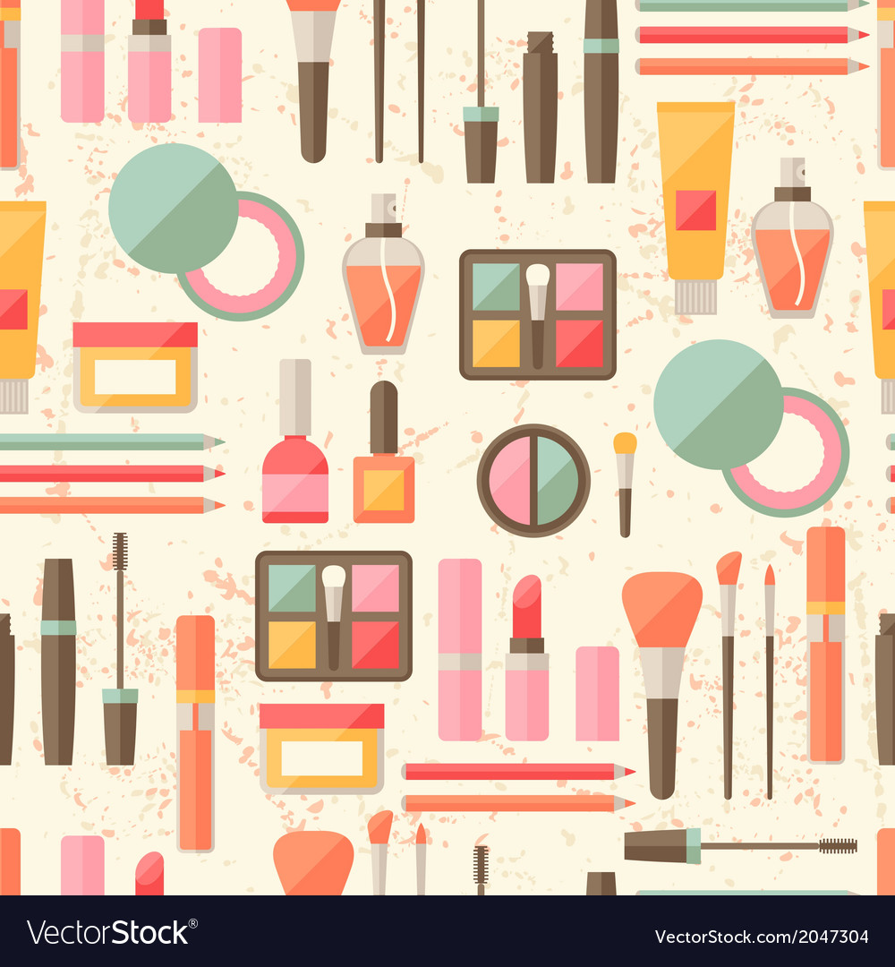 Seamless grunge background with cosmetics flat vector | Price: 1 Credit (USD $1)
