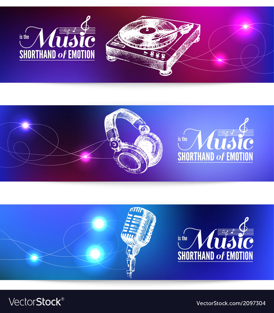 Set of music banners vector | Price: 1 Credit (USD $1)