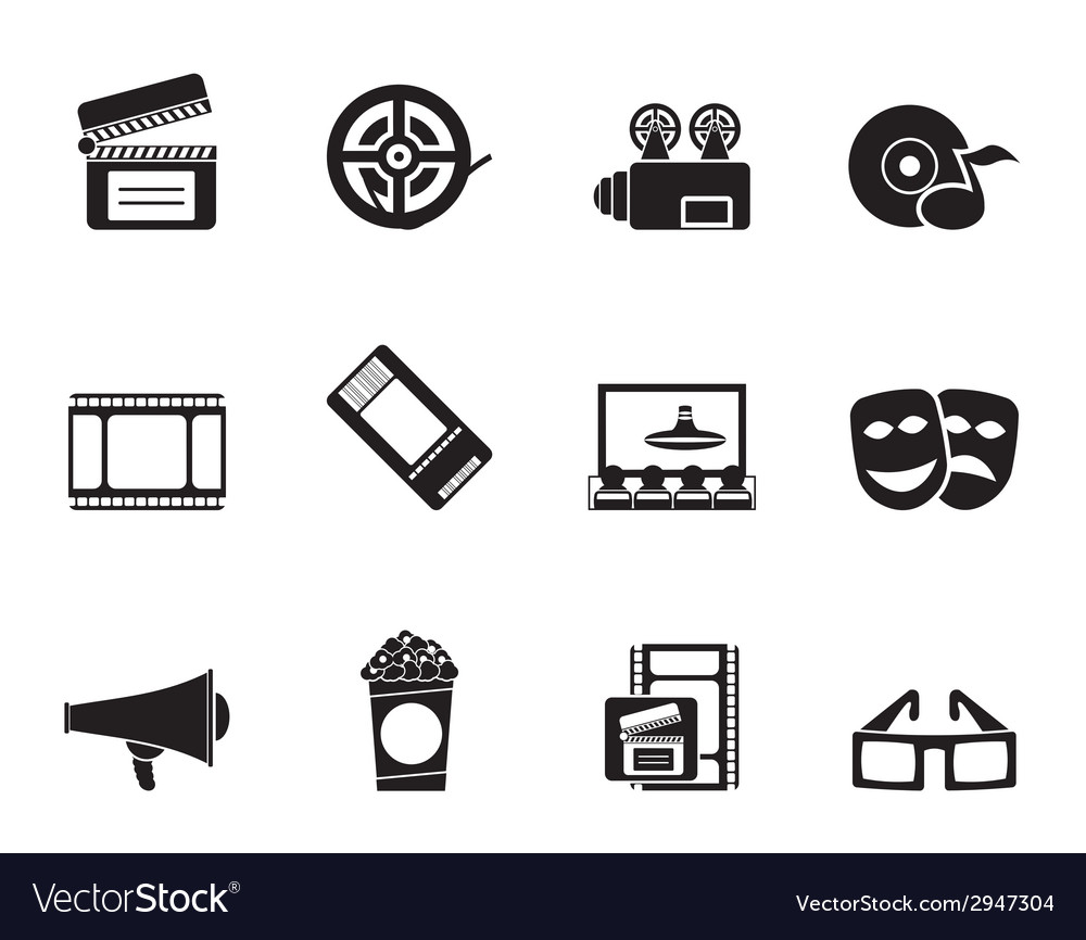 Silhouette movie theatre and cinema icons vector | Price: 1 Credit (USD $1)
