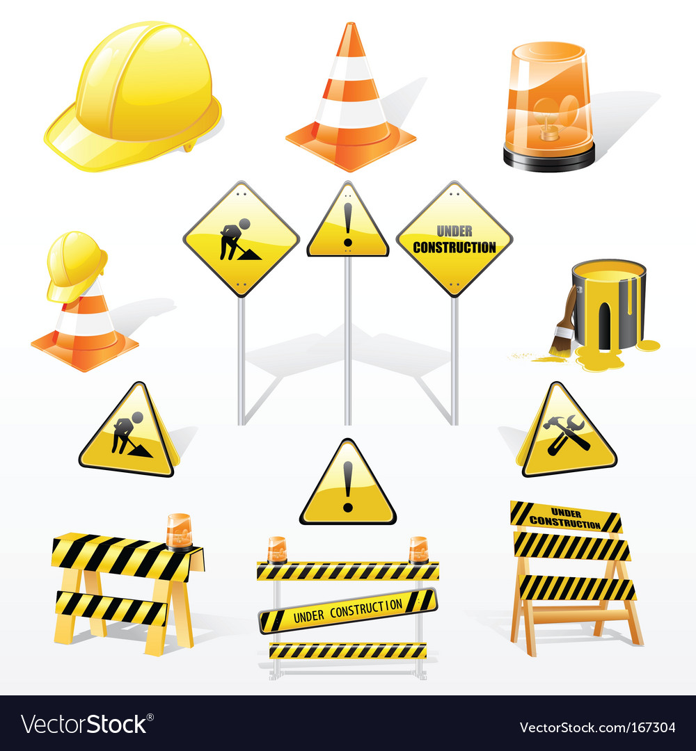 Under construction icons set vector