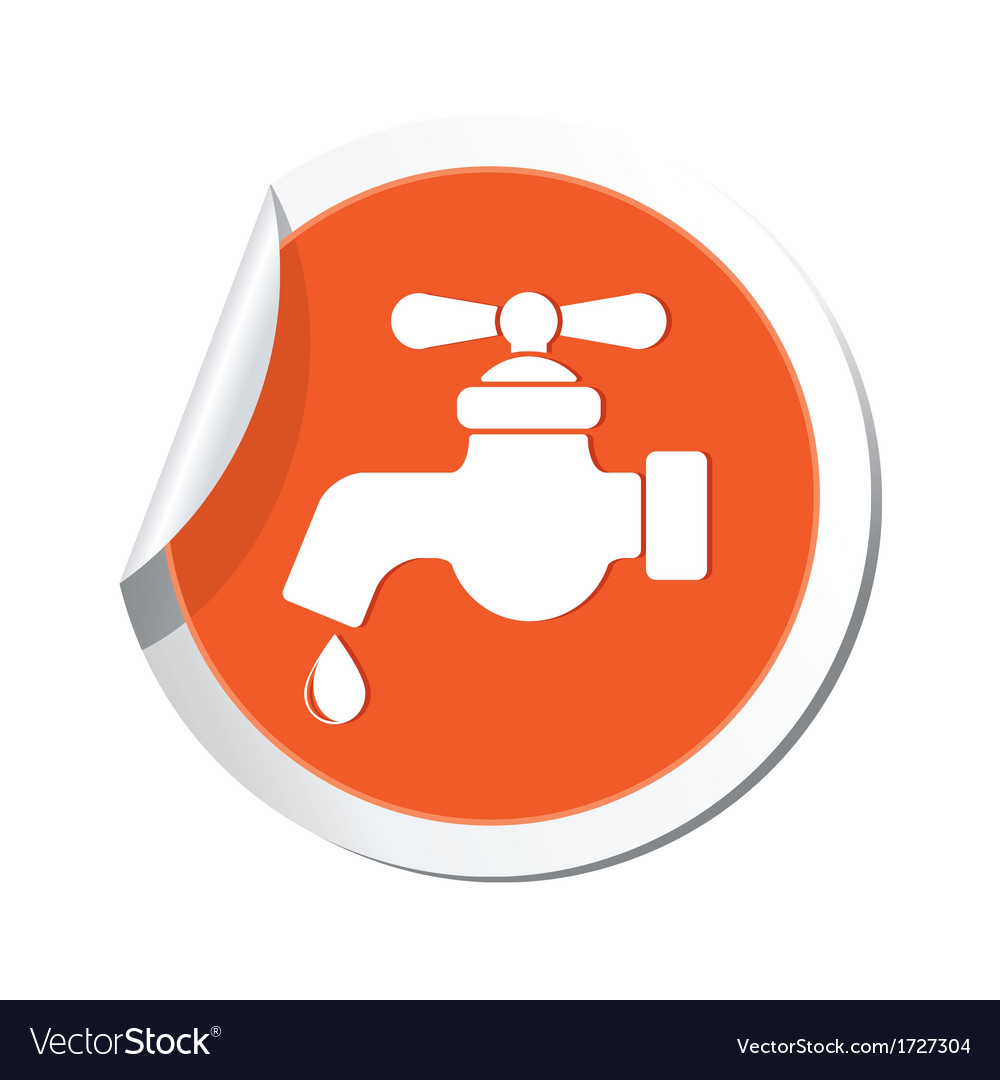 Water tap icon orange sticker vector | Price: 1 Credit (USD $1)