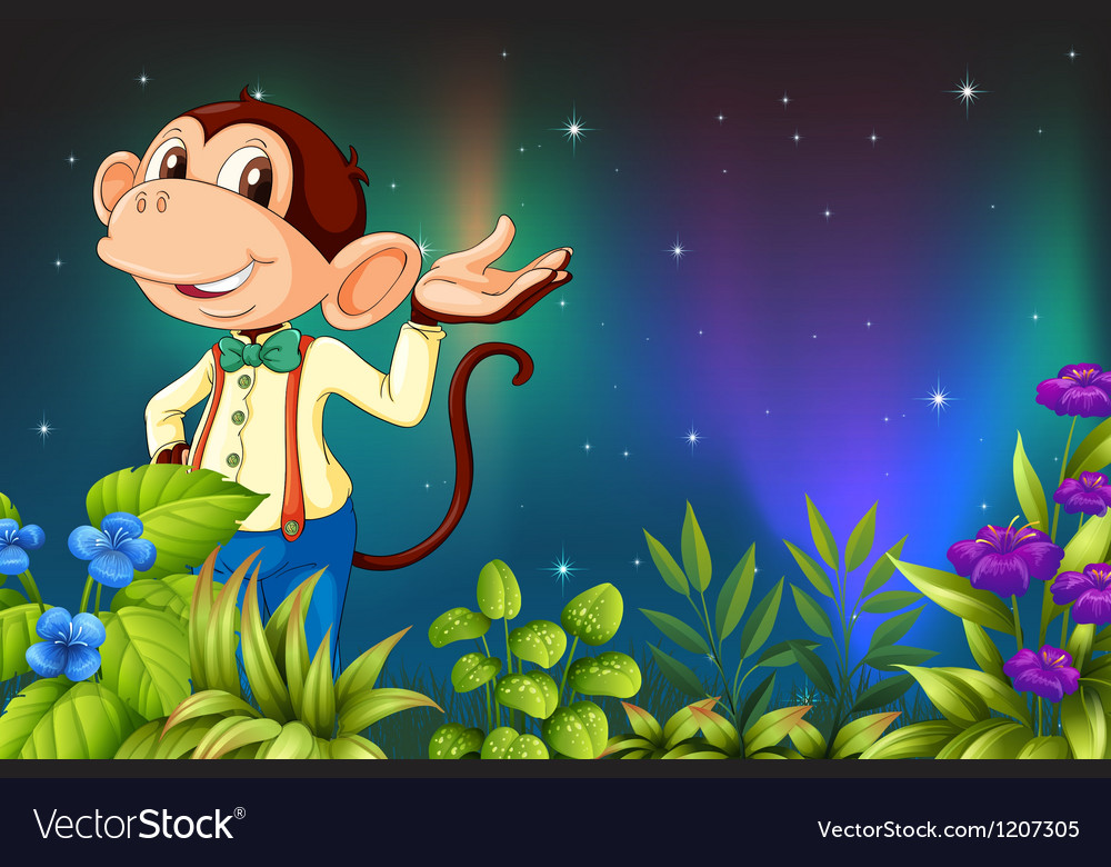 An early morning view with a male monkey vector | Price: 1 Credit (USD $1)