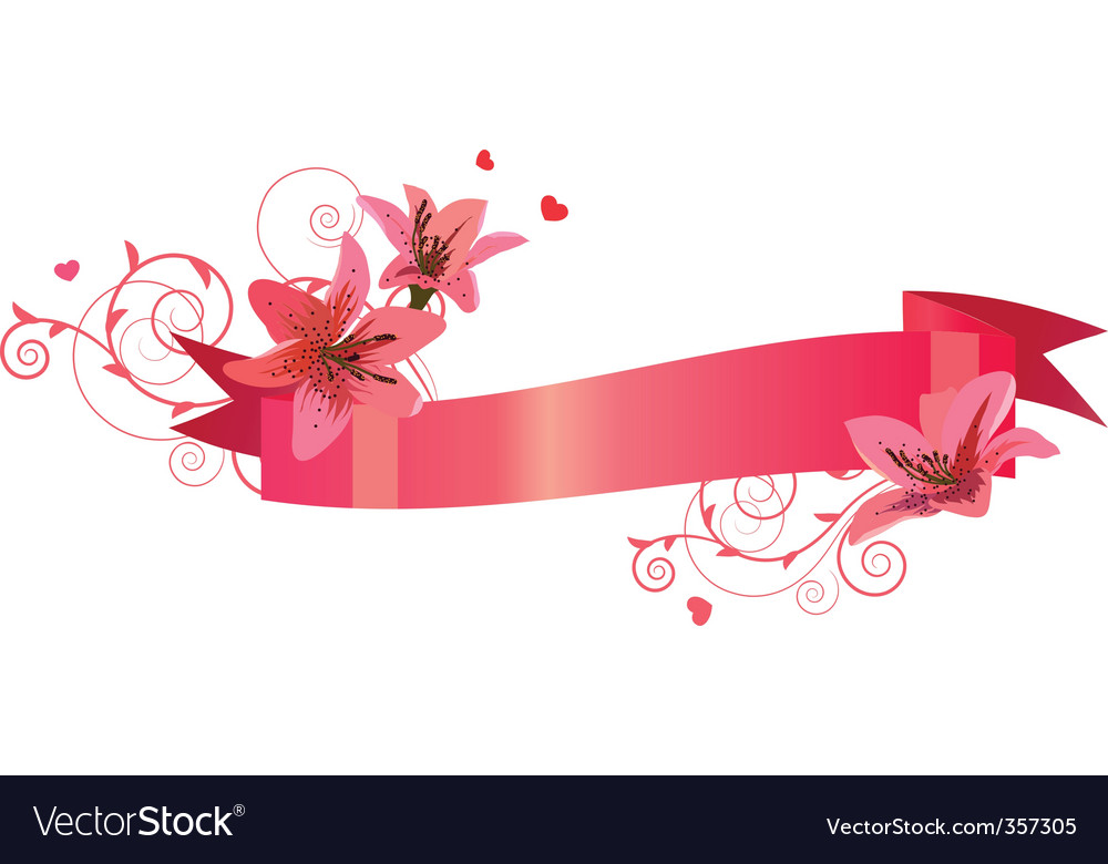 Banner with lilies vector | Price: 1 Credit (USD $1)