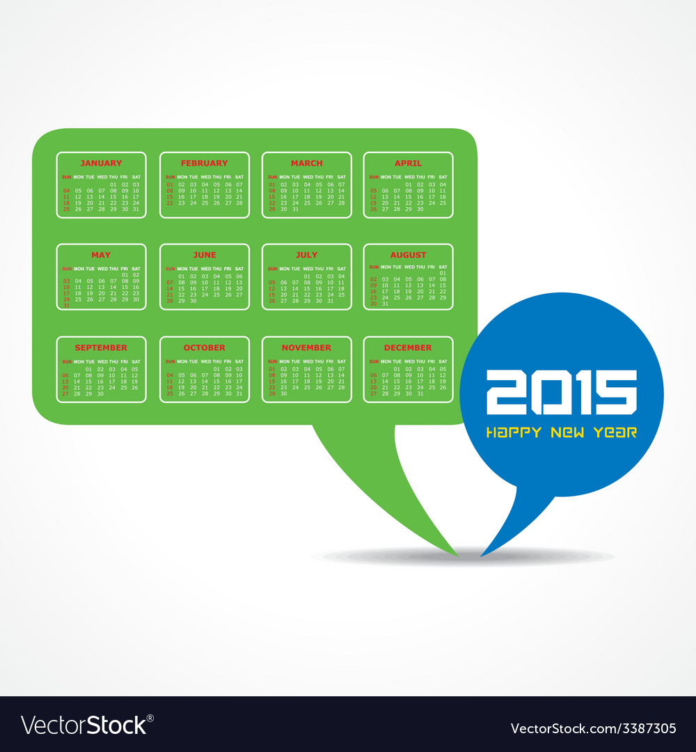 Calendar of 2015 with message bubble design vector | Price: 1 Credit (USD $1)