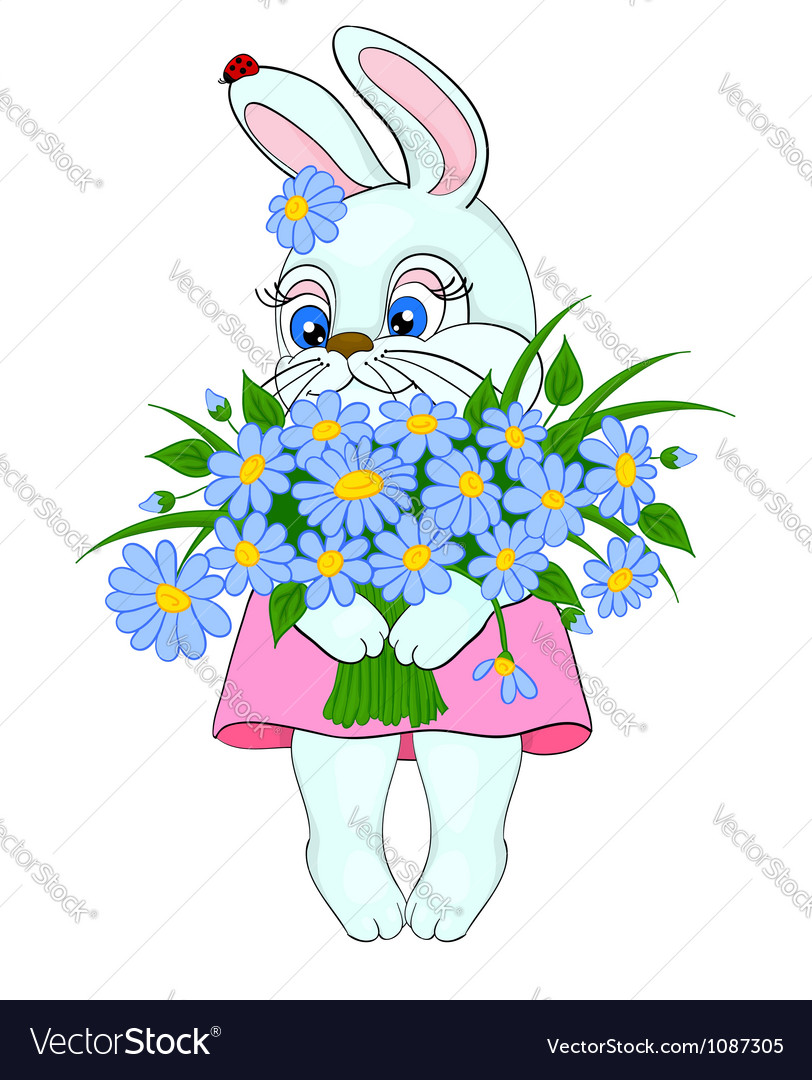 Cartoon bunny with a big bouquet of flowers daisie vector | Price: 1 Credit (USD $1)