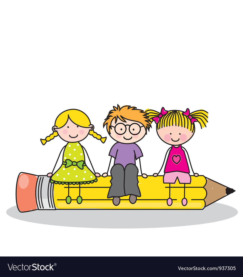 Children sitting on a pencil vector | Price: 3 Credit (USD $3)