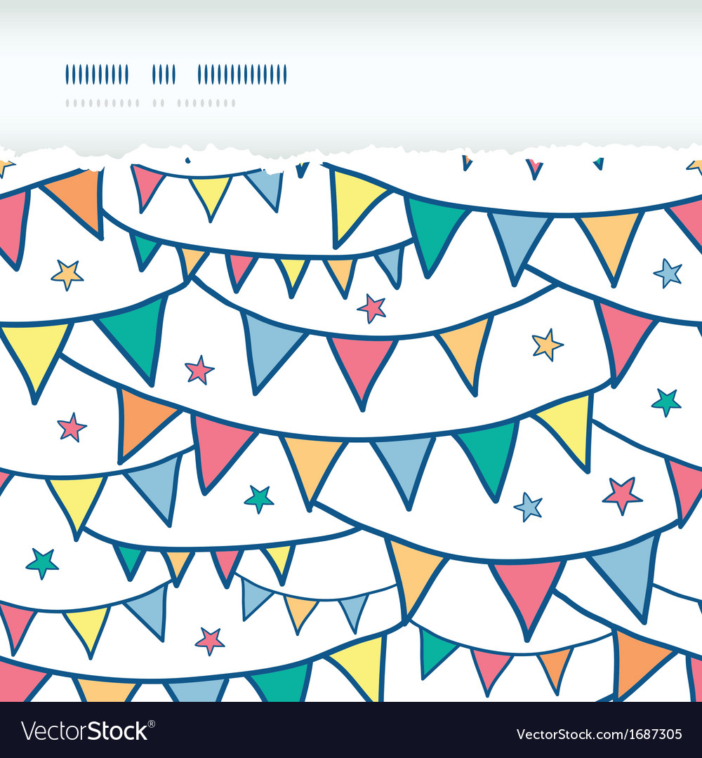 Colorful doodle bunting flags horizontal torn vector | Price: 1 Credit (USD $1)