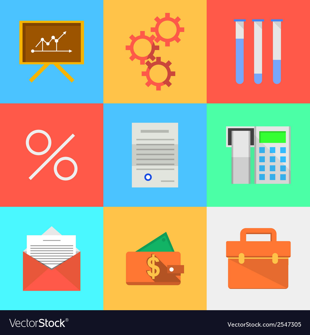 Flat icons for outsourced development vector | Price: 1 Credit (USD $1)