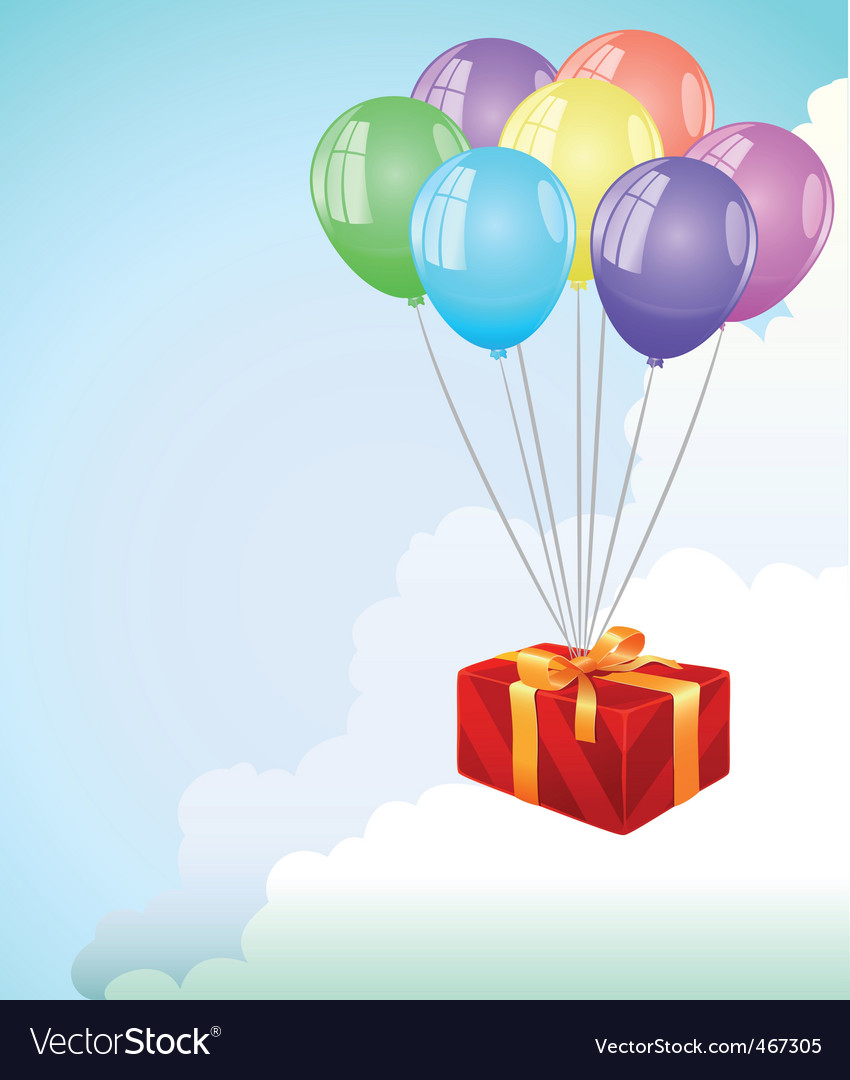 Giftbox and balloons vector | Price: 1 Credit (USD $1)