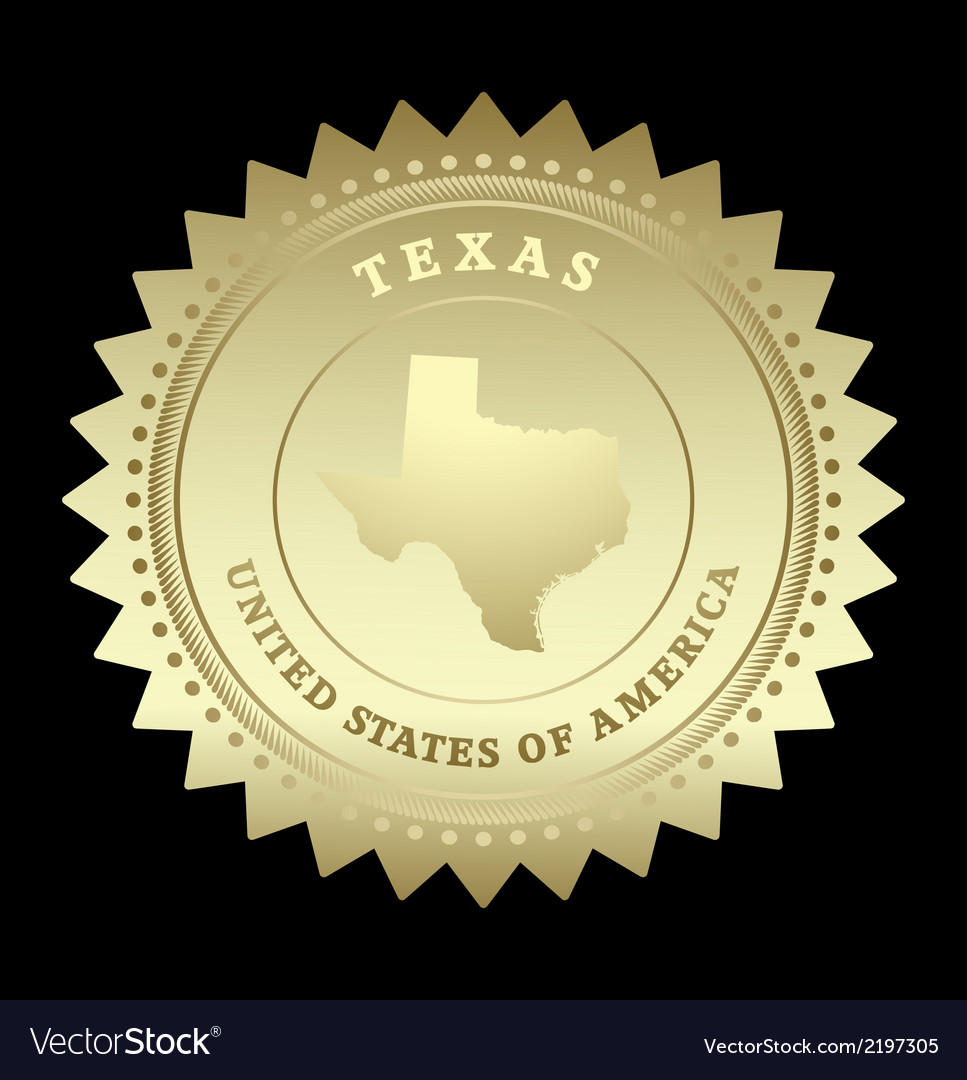 Gold star label texas vector | Price: 1 Credit (USD $1)