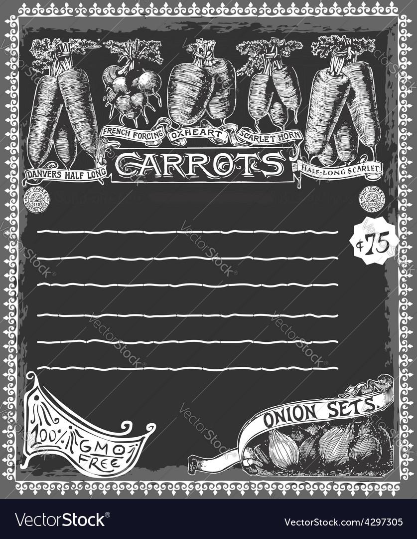 Greengrocer - vintage carrots chalkboard vector | Price: 3 Credit (USD $3)
