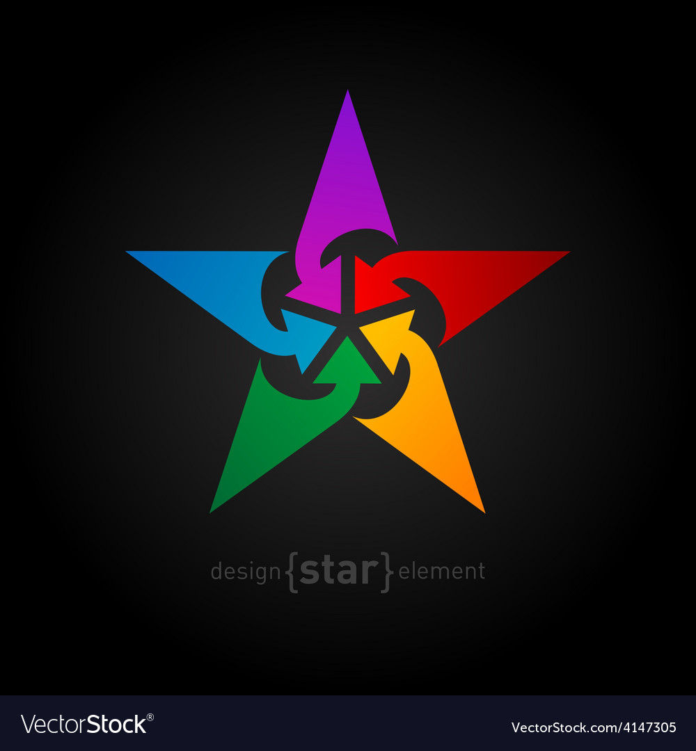 Star with arrows abstract design element vector | Price: 1 Credit (USD $1)