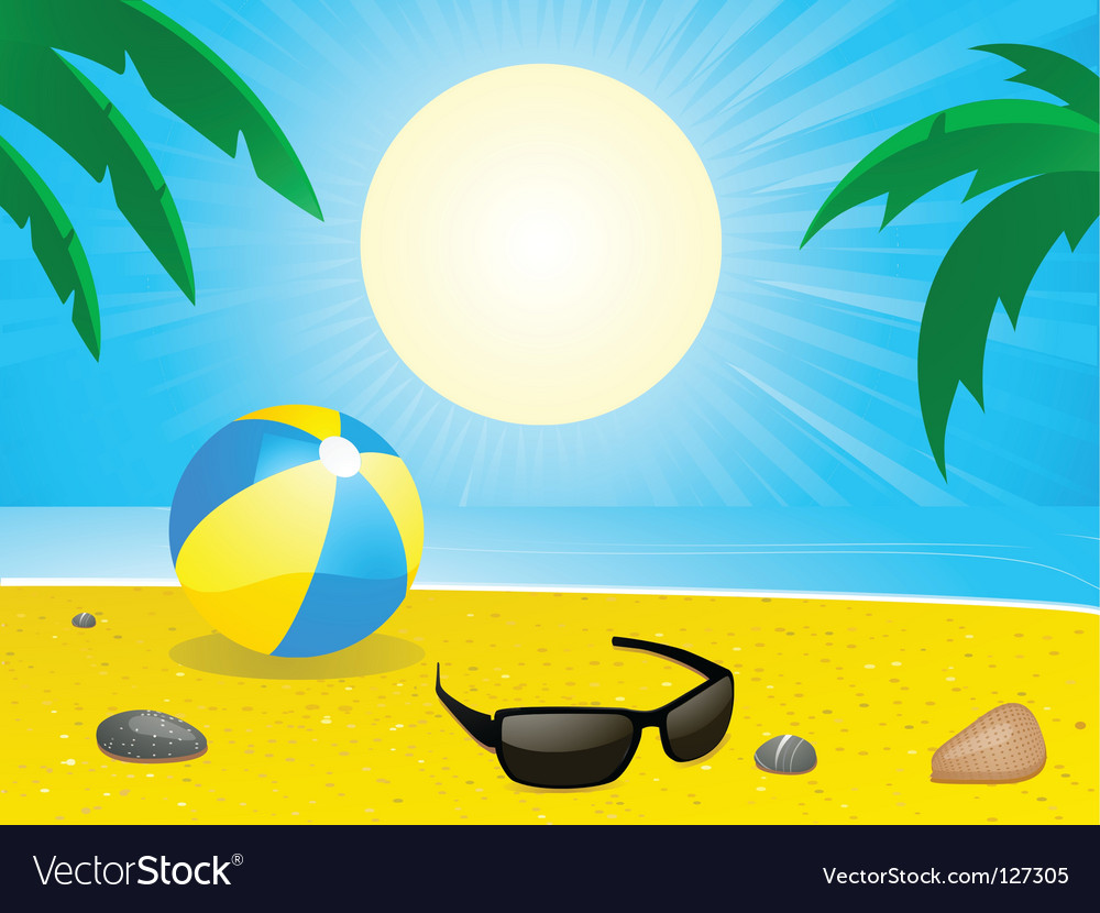 Tropical summer beach vector | Price: 1 Credit (USD $1)