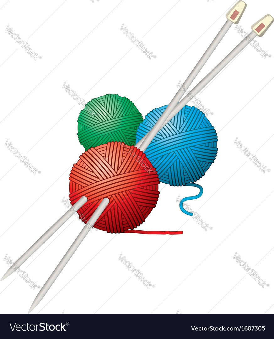 Yarn balls and needles vector | Price: 1 Credit (USD $1)