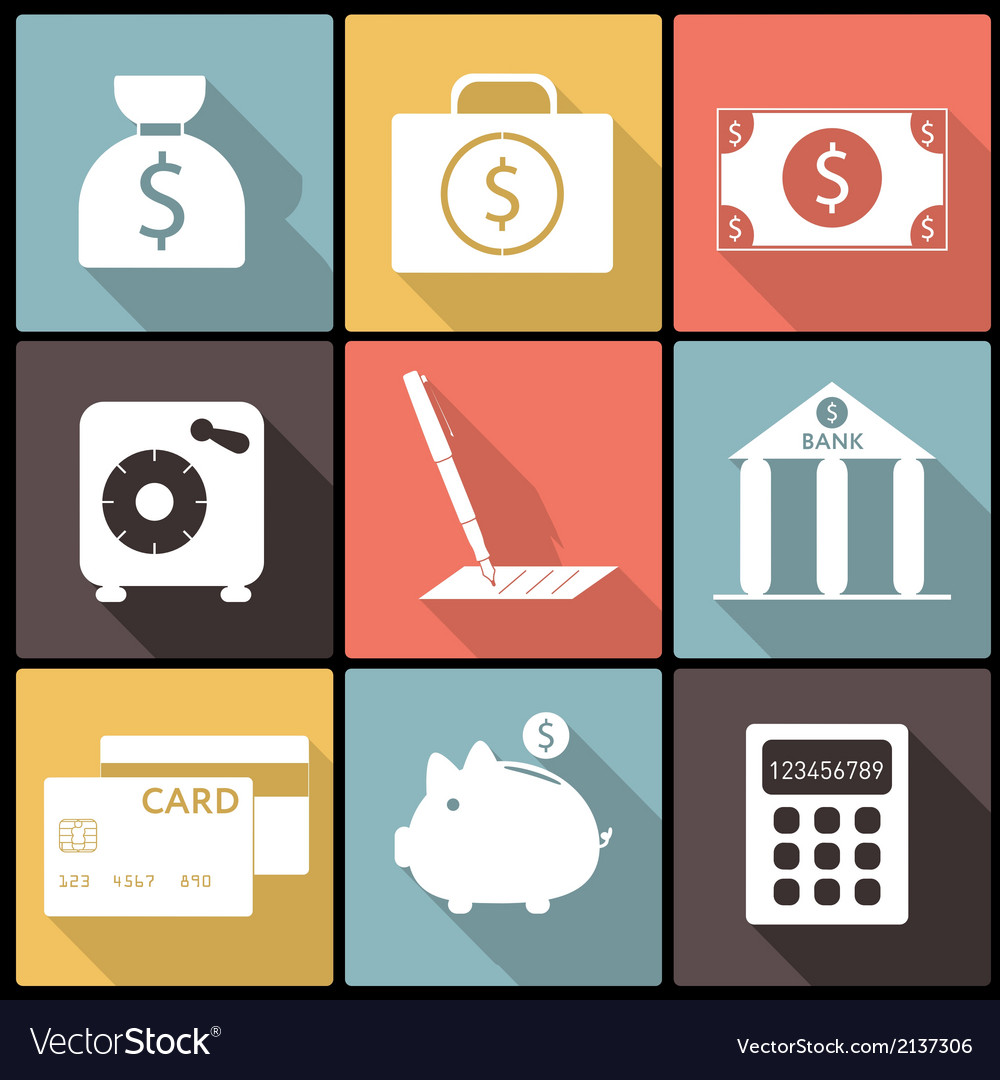 Banking financial icons in flat design vector | Price: 1 Credit (USD $1)