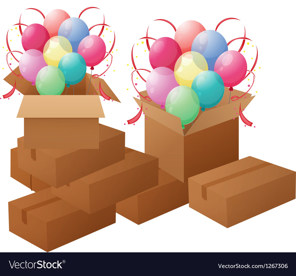 Boxes with balloons vector | Price: 1 Credit (USD $1)