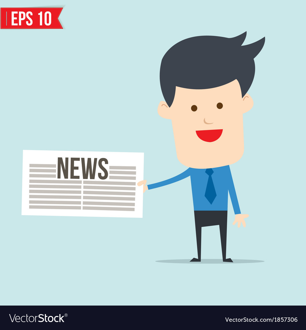 Business man show news board vector | Price: 1 Credit (USD $1)