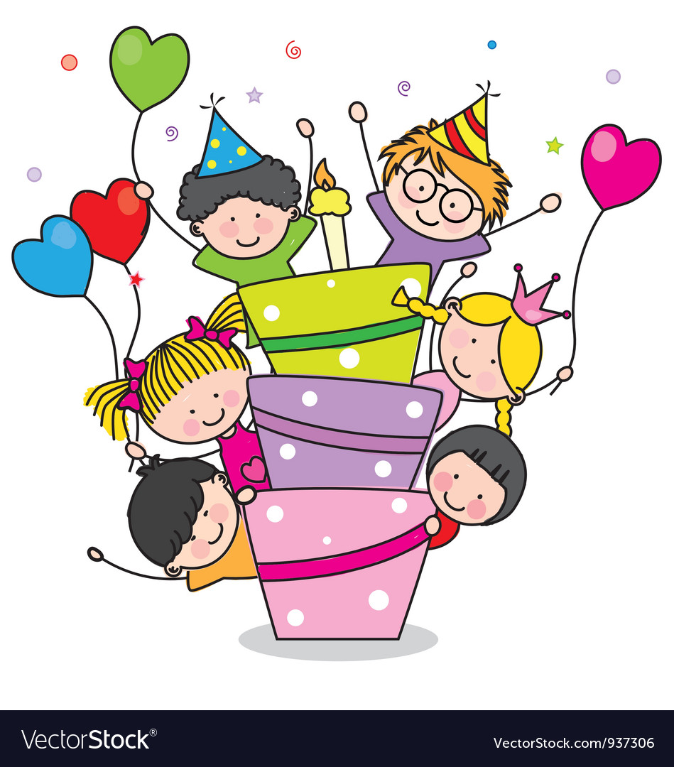 Children with a cake vector | Price: 3 Credit (USD $3)