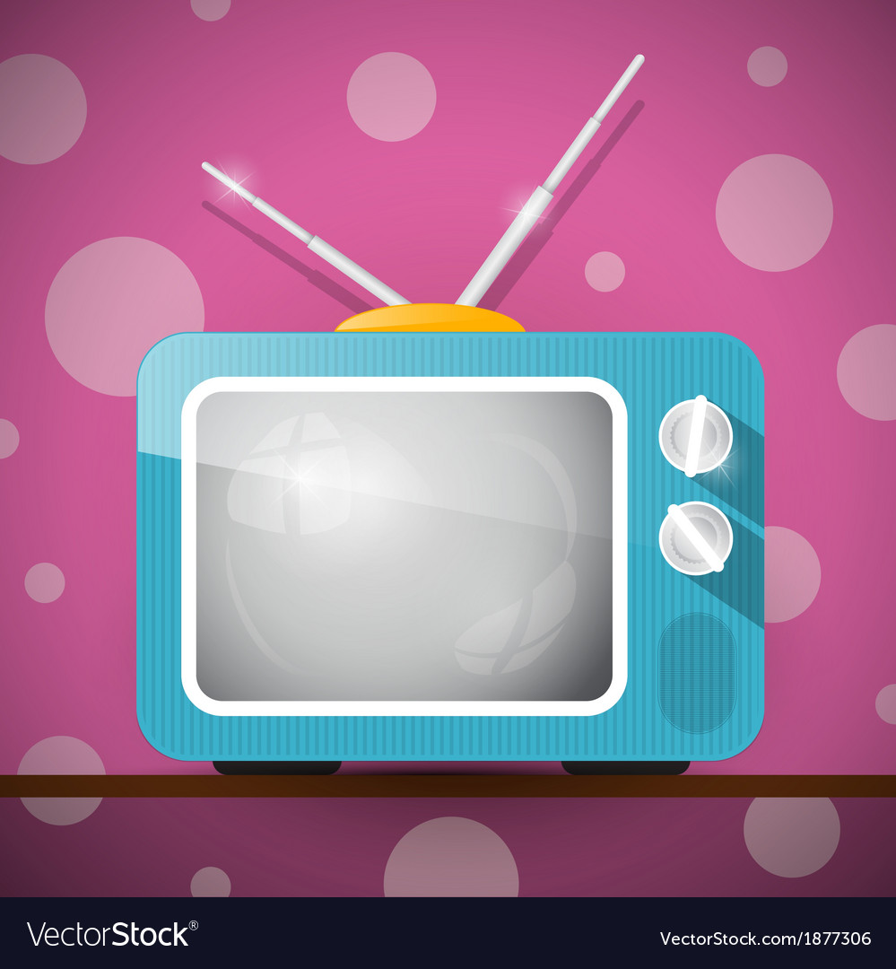 Retro blue television tv on abstract pink backgrou vector | Price: 1 Credit (USD $1)