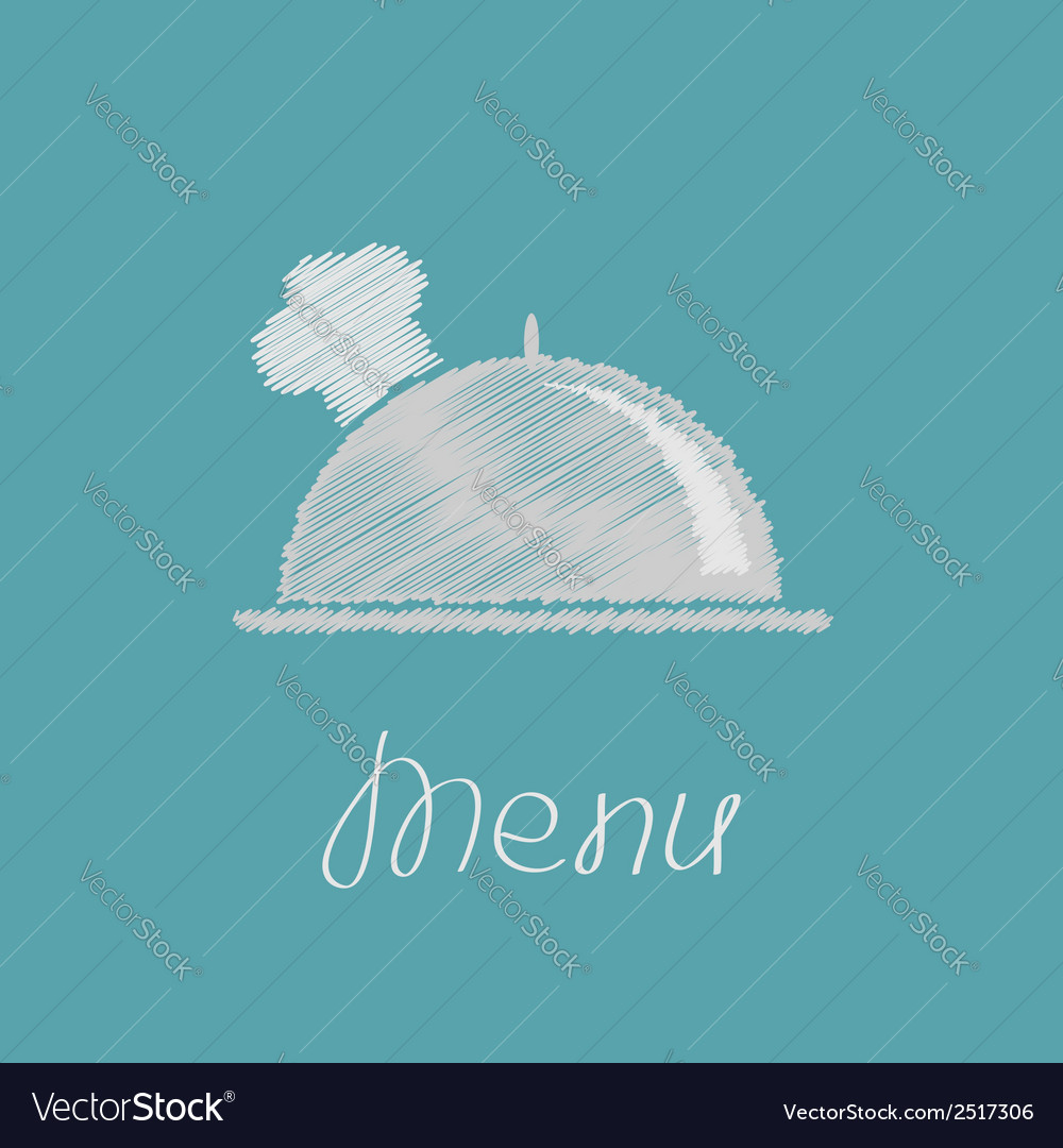 Silver platter cloche and chefs hat scribble effec vector | Price: 1 Credit (USD $1)