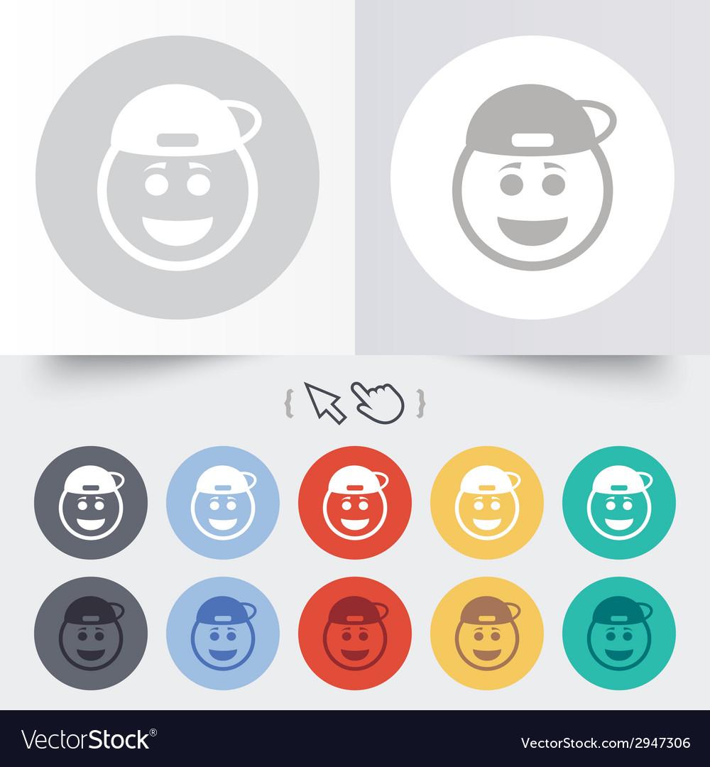 Smile rapper face icon smiley symbol vector   Price: 1 Credit (USD $1)