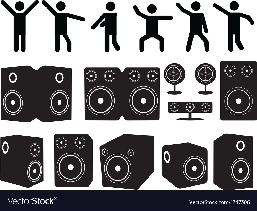 Speakers and people dancing vector | Price: 1 Credit (USD $1)