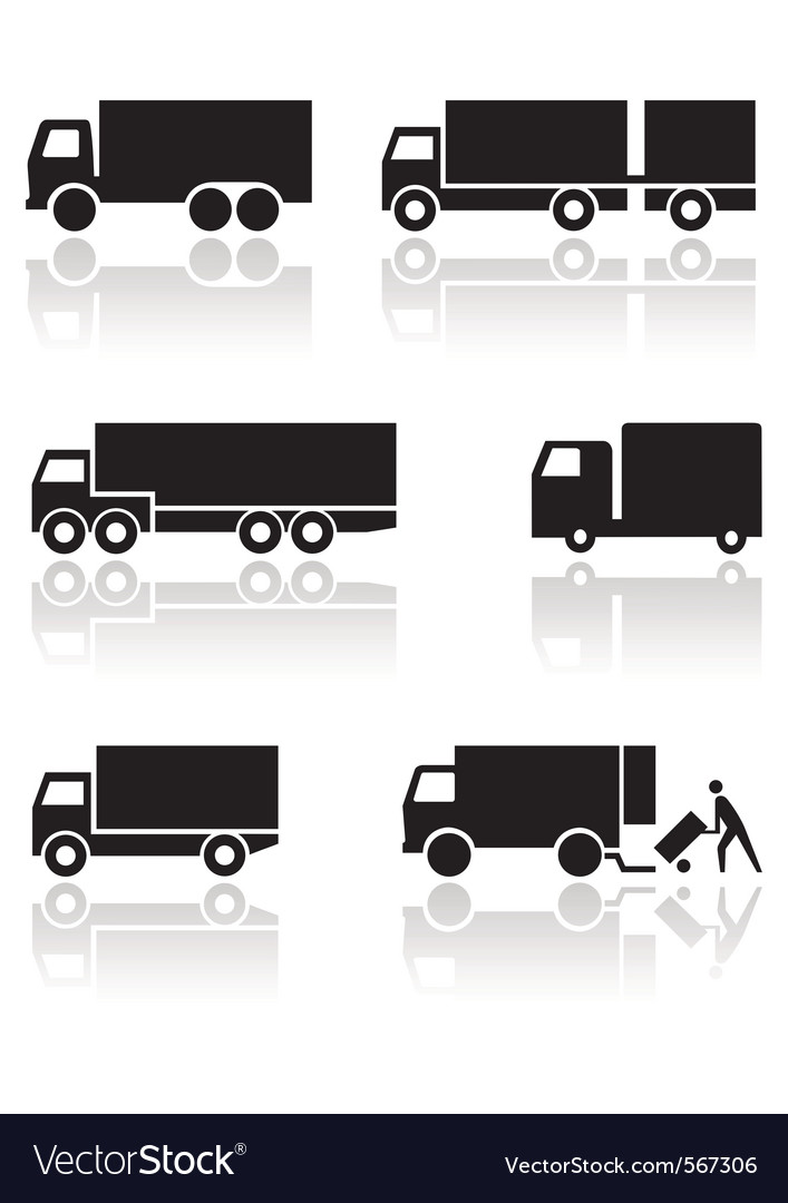 Truck or van symbol set vector | Price: 1 Credit (USD $1)