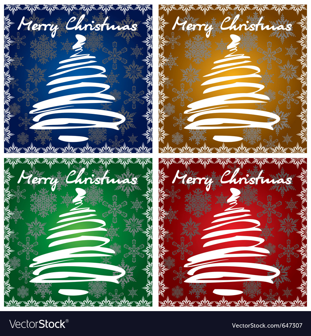 4 christmas greeting cards vector | Price: 1 Credit (USD $1)