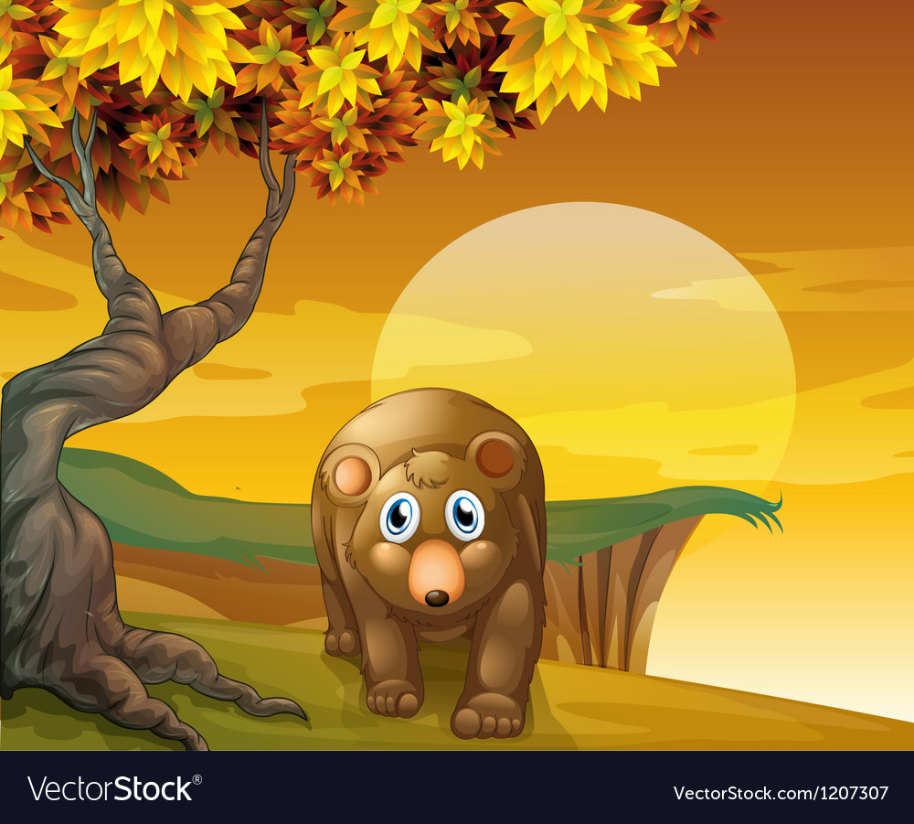 A brown bear beside a big tree near the cliff vector | Price: 1 Credit (USD $1)