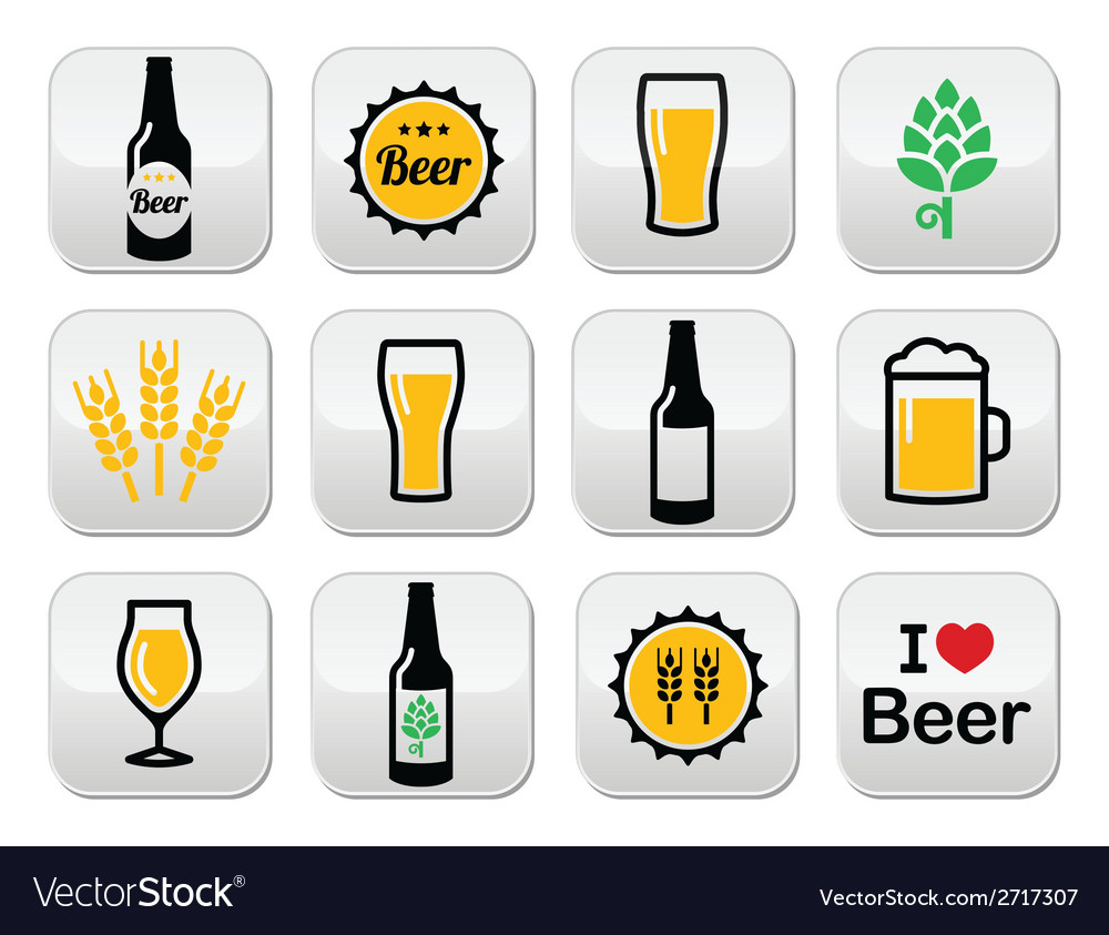 Beer colorful buttons set - bottle glass vector | Price: 1 Credit (USD $1)