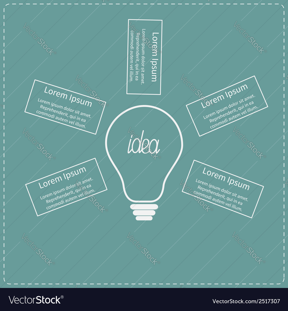 Big white light bulb infographic with text idea co vector | Price: 1 Credit (USD $1)