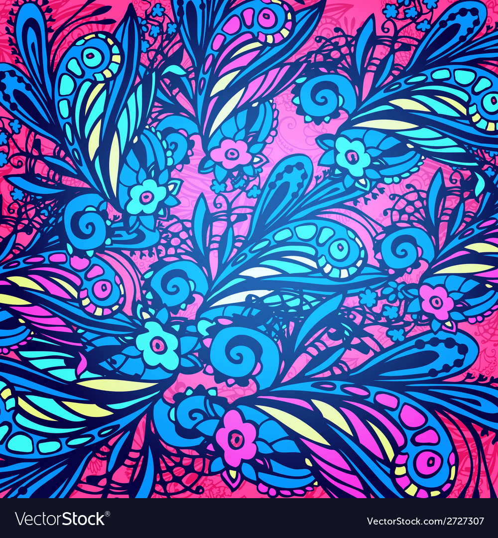 Blue and violet flower seamless pattern vector | Price: 1 Credit (USD $1)