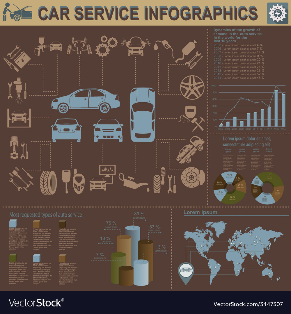 Car service repair infographics vector   Price: 1 Credit (USD $1)