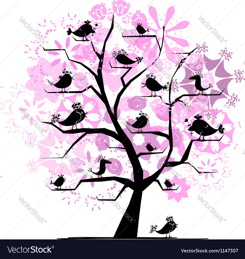 Funny tree with singing birds for your design vector | Price: 1 Credit (USD $1)