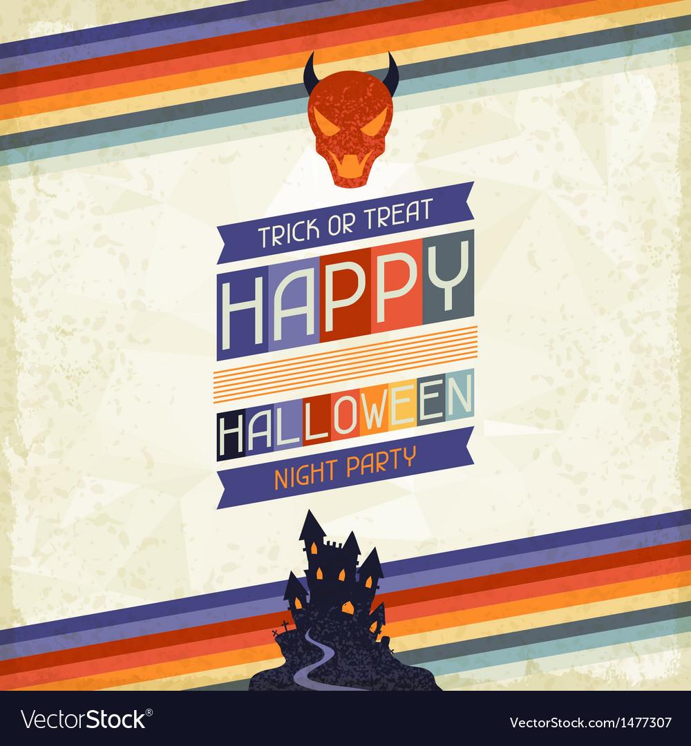 Happy halloween grungy retro background vector   Price: 1 Credit (USD $1)