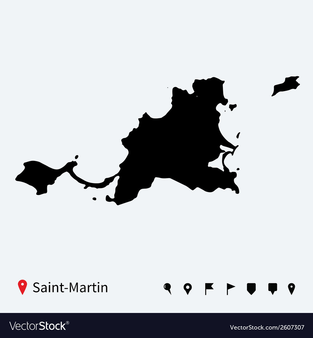 High detailed map of saint-martin with navigation vector | Price: 1 Credit (USD $1)