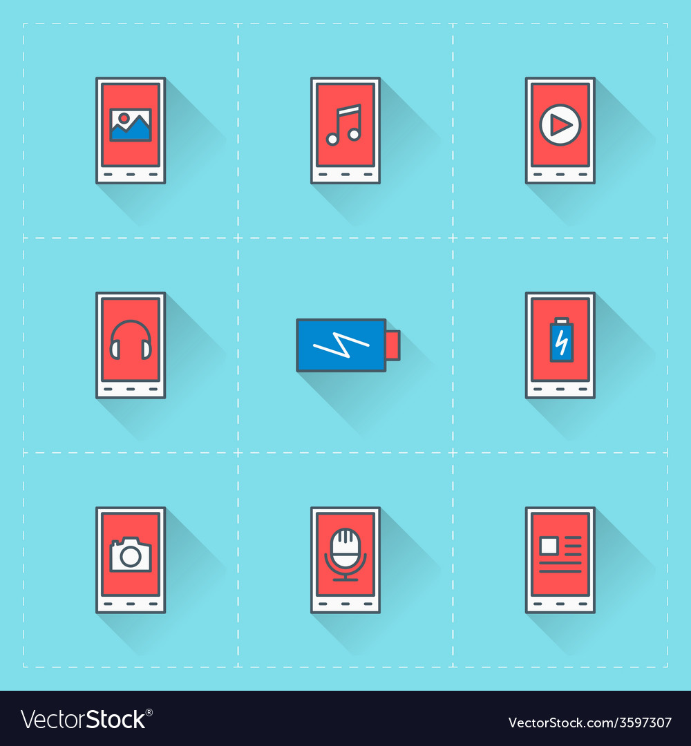 Mobile phone icons icon set in flat design style vector | Price: 1 Credit (USD $1)