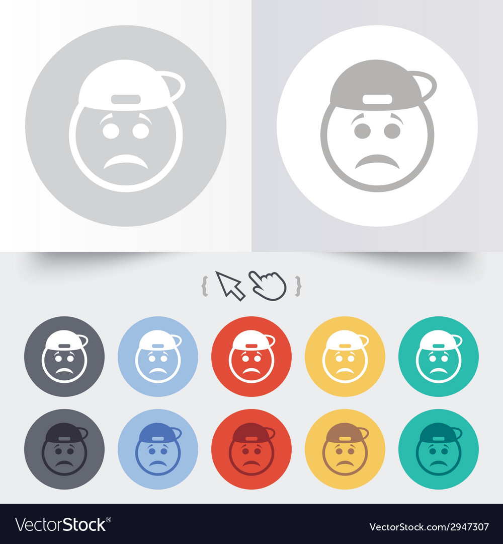 Sad rapper face sign icon sadness symbol vector | Price: 1 Credit (USD $1)