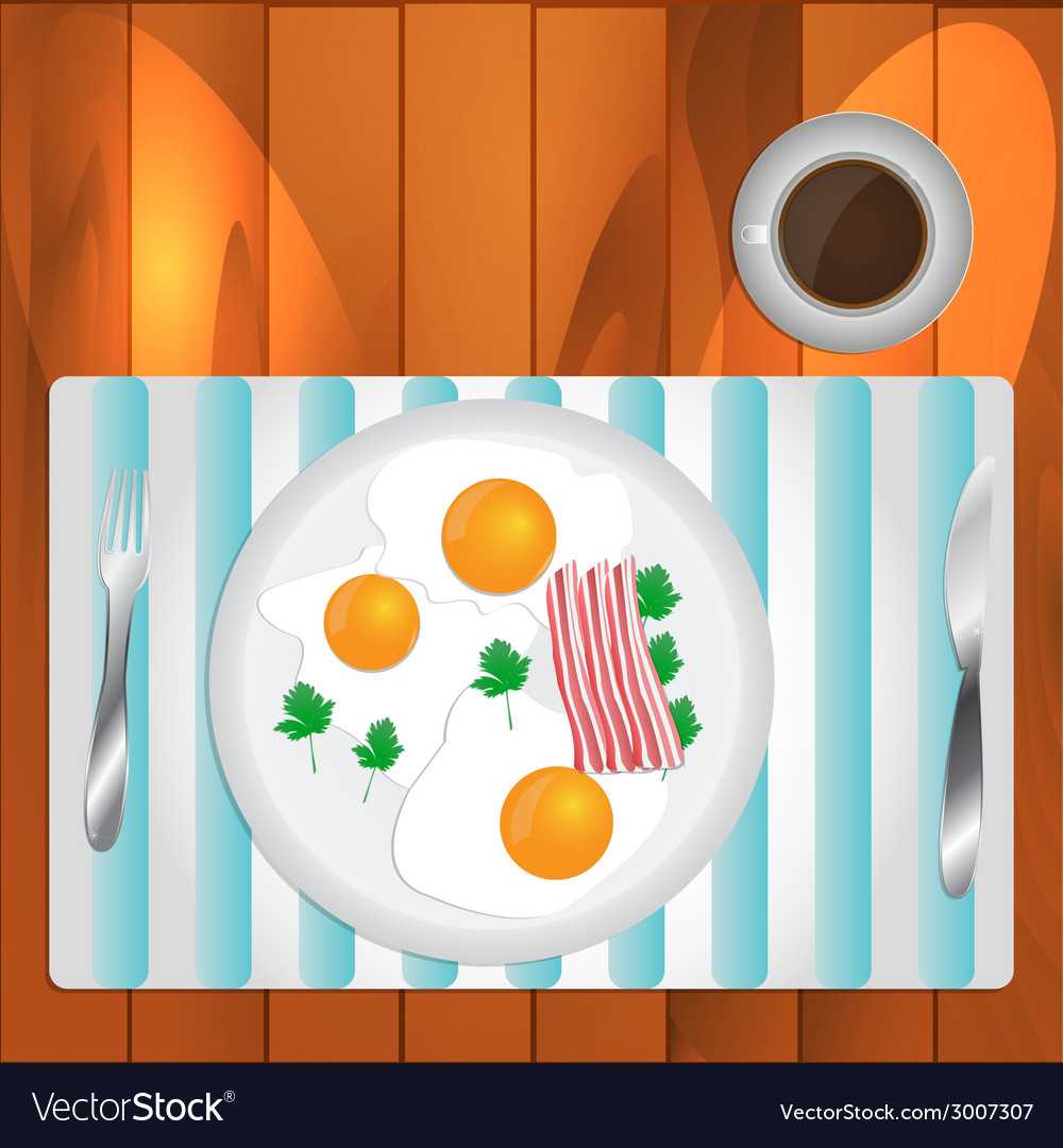 Scrambled eggs and coffee vector | Price: 1 Credit (USD $1)