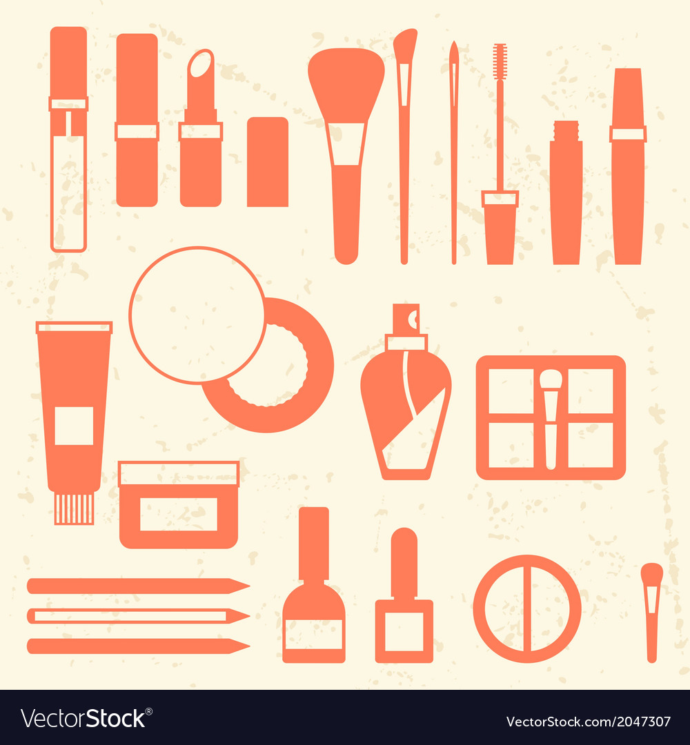 Set of cosmetics icons in flat style vector | Price: 1 Credit (USD $1)