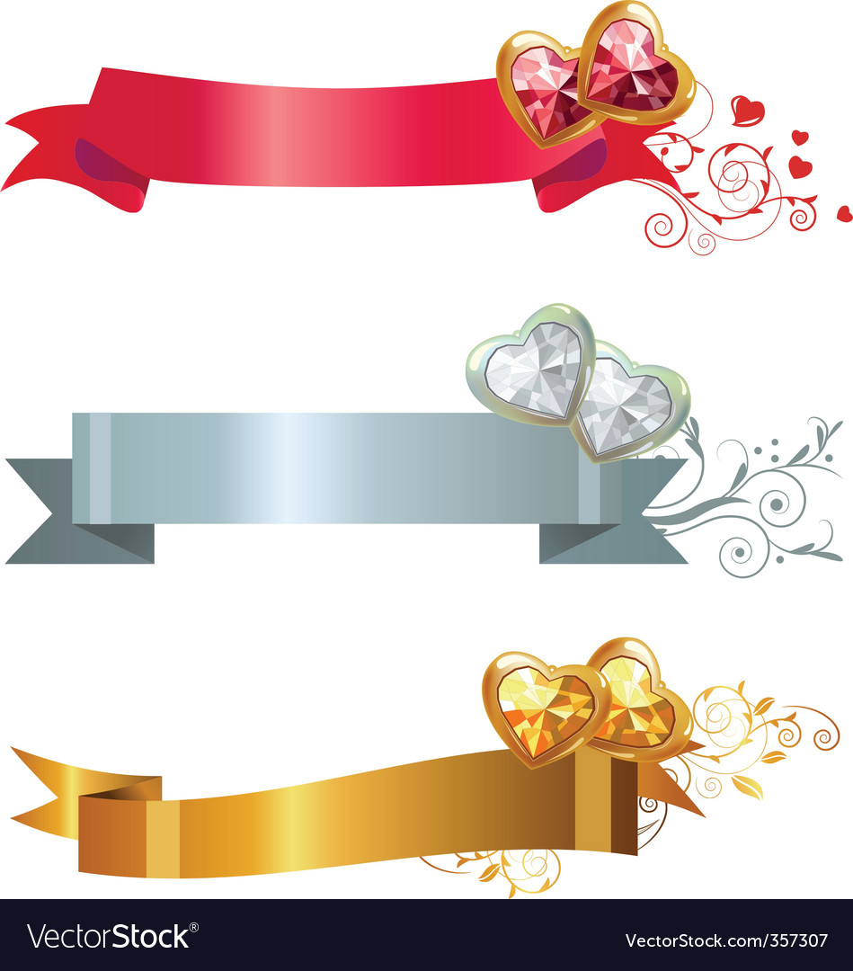 Three banners with jewels vector | Price: 1 Credit (USD $1)