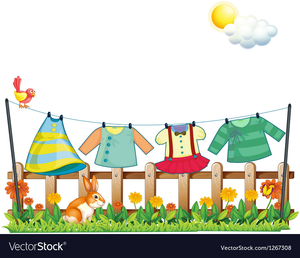 A bunny below the hanging clothes vector | Price: 1 Credit (USD $1)