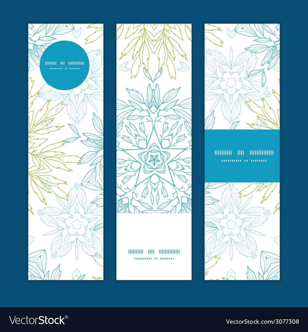 Abstract plants mandalas vertical banners set vector | Price: 1 Credit (USD $1)