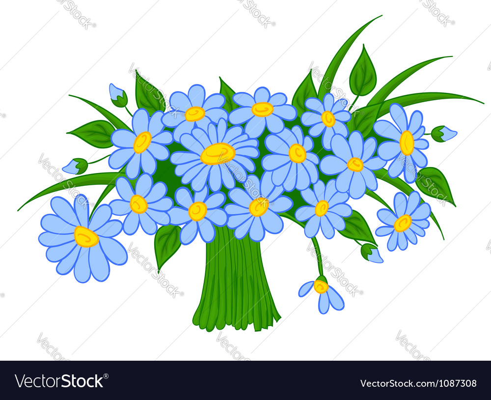 Animated cartoon bouquet of daisies vector | Price: 1 Credit (USD $1)