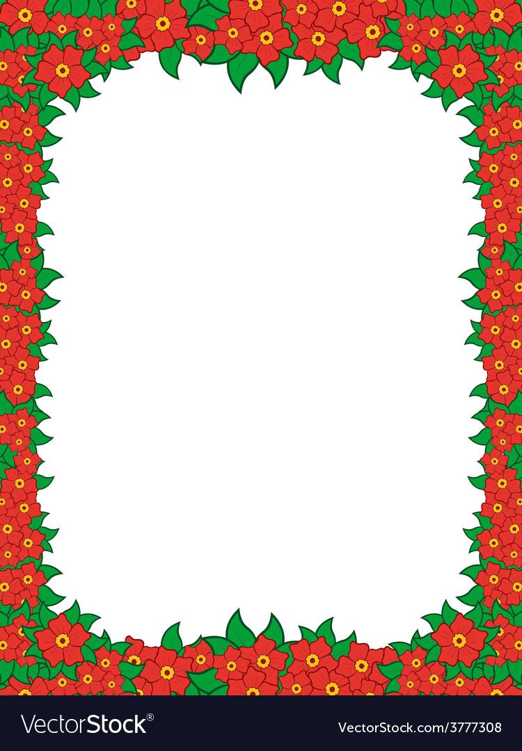 Frame with red flowers vector | Price: 1 Credit (USD $1)