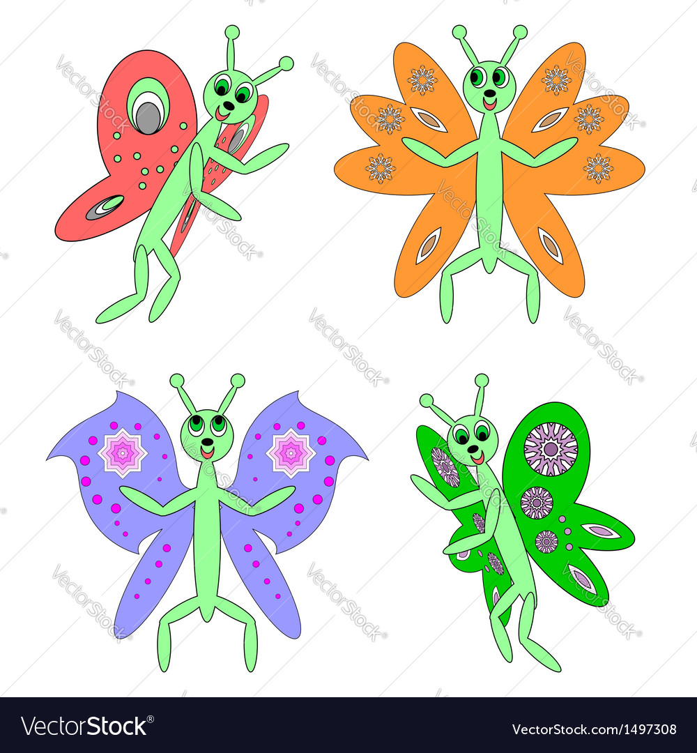 Funny butterflies on a white background vector | Price: 1 Credit (USD $1)