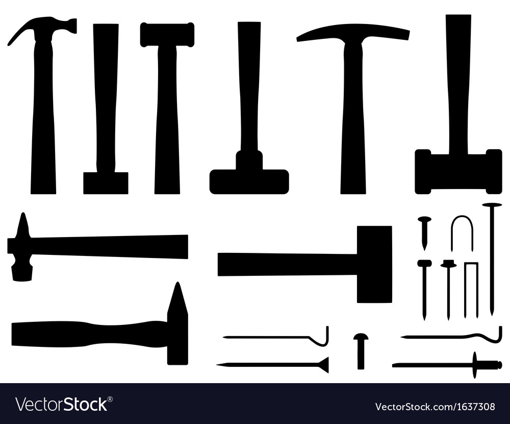 Hammers and nails vector | Price: 1 Credit (USD $1)
