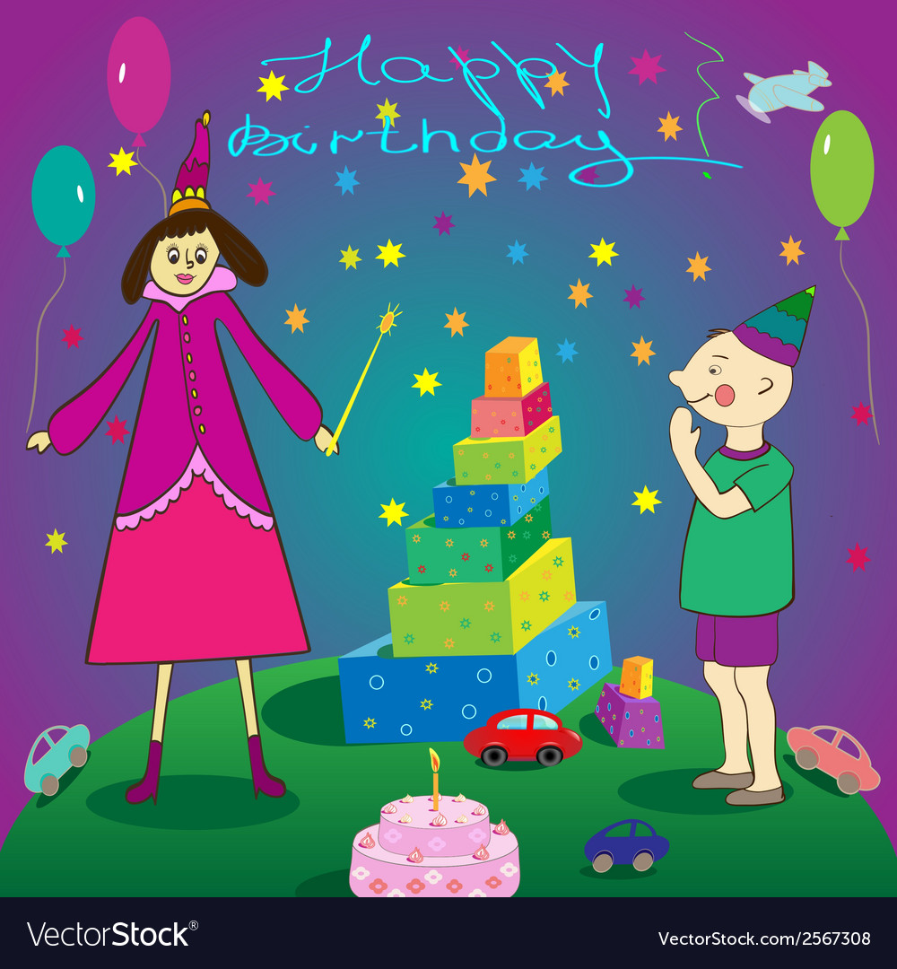 Happy birthday gifts boy cake and fairy vector | Price: 1 Credit (USD $1)