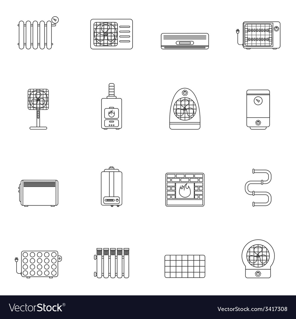 Heating and cooling outline vector | Price: 1 Credit (USD $1)